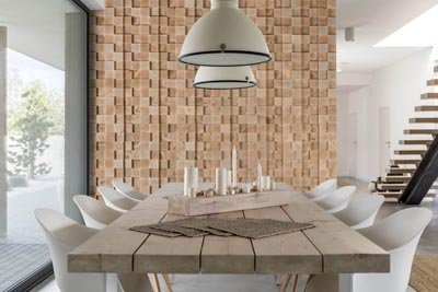 Dining room interior with wall panels