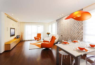Wall panels in living room orange