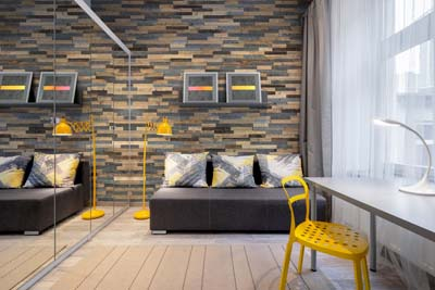 Wooden wall panels in apartment interior