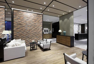 Wall panels in office lobby