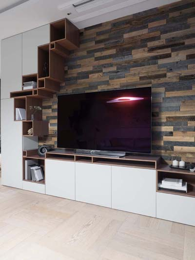 reclaimed wood apartment tv dining room