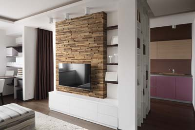 tv and sofa wall reclaimed wood