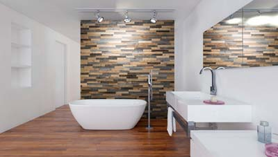 wall panels in bathroom interior behind bath