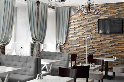 wall panels in restaurant bravo