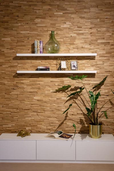 Wooden wall design living room
