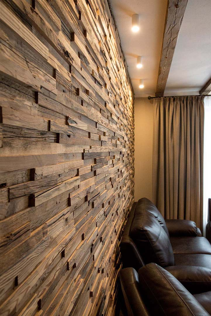 Reclaimed wood panels in interior design